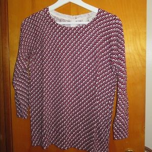 LOFT Maroon Patterned Sweater with Button-Up Back